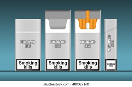 Digital vector silver cigarette pack mockup, front and lateral view, smoking kills, realistic flat style, isolated and ready for your design and logo