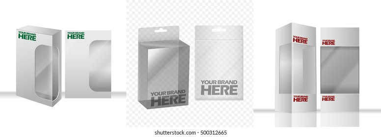 Digital vector silver transparent plastic and paper blank box mockup, ready for your logo and design, flat style