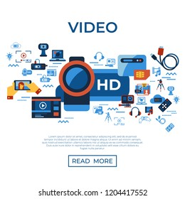 Digital vector video on demand online streaming technology simple icons set collection flat style infographics