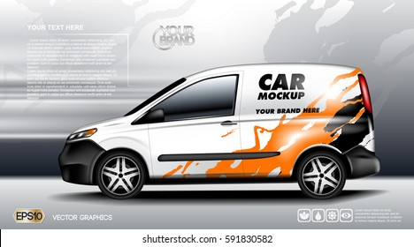 Digital vector white realistic vehicle car mockup, ready for your logo and design . Template for advertising and corporate identity. Transportation or Food delivery. Illustrated vector. Mockup