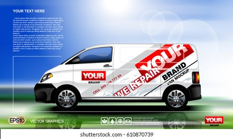 Digital vector white realistic vehicle car mock up, ready for your logo and design . Template for advertising and corporate identity. Food delivery. Illustrated vector