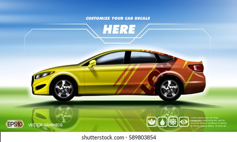 Digital vector yellow and red 4 seats sedan sport car mockup, ready for print or magazine design. Your brand, customize your decals. Blue and green background. Transparent, realistic 3d, reflection