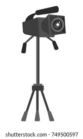 Digital video camera on the tripod vector cartoon illustration isolated on white background.