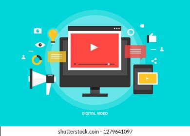 Digital video, content, Social media, Video marketing vector banner with icons