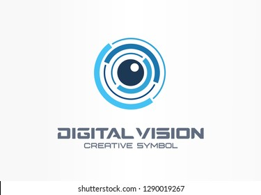 Digital vision creative symbol concept. Eye iris scan, vr system abstract business logo. Cctv monitor, security control, video camera lens icon. Corporate identity logotype, company graphic design