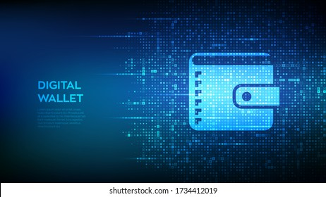 Digital wallet. Wallet icon made with currency symbols. Mobile banking, online finance, e-commerce banner. Dollar, euro, yen and pound icons. Background with currency signs. Vector illustration.