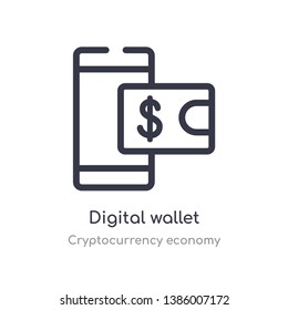 digital wallet outline icon. isolated line vector illustration from cryptocurrency economy collection. editable thin stroke digital wallet icon on white background