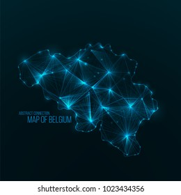 Digital web map of Belgium . Global network connection with glowing triangular elements . Abstract country wireframe . Technology vector illustration . Belgium shape