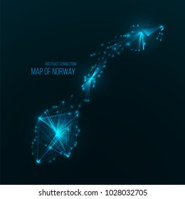 Digital web map of Norway. Global network connection with glowing triangular elements . Abstract country wireframe . Technology vector illustration . Norway futuristic  polygonal shape .
