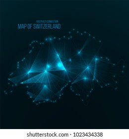 Digital web map of Switzerland. Global network connection with glowing triangular elements . Abstract country wireframe . Technology vector illustration . Switzerland shape