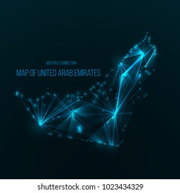 Digital web map of UAE. Global network connection with glowing triangular elements . Abstract country wireframe . Technology vector illustration . United Arab Emirates shape .