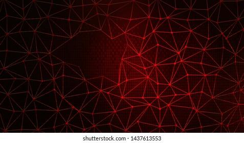 Digital Web on Dark Red Backgrund. Data Breach Concept