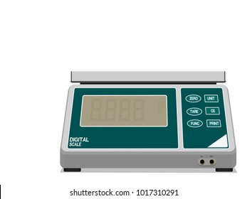 Digital weight scale on transparent background
