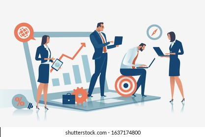 Digital workers. Business team with notebooks and tablets. Concept vector illustration.
