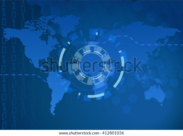Digital World Map Focus Light Eps10 Stock Vector (Royalty