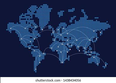 Digital world. Network of communication and transportation. Future technology concept.