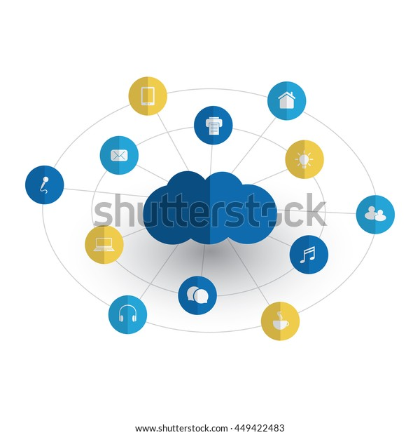Digital World Networks Iot Cloud Computing Stock Vector
