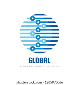 Digital world - vector business logo template concept illustration. Globe abstract sign and electronic network. Global technology design element.