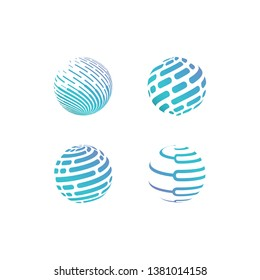 Digital world - vector business logo template concept illustration. Globe abstract sign and electronic network. Global technology design element. - Vector