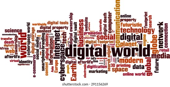 Digital world word cloud concept. Vector illustration