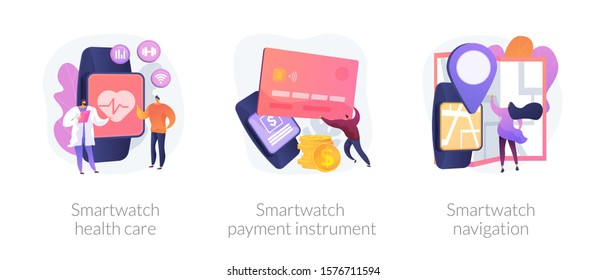 Digital wristwatch function and applications use. Smartwatch health care, smartwatch payment instrument, smartwatch navigation metaphors. Vector isolated concept metaphor illustrations