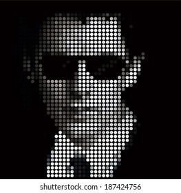 Digital young man profile avatar in a suit with tie and sunglasses by dots. black and white design. computerized businessman 3d face of circles. vector image illustration, isolated on dark background