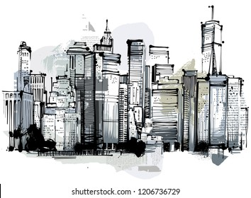 Digitaldrawing with scanned handdrawn elements and paintings. Free Interpretation of Buildings.