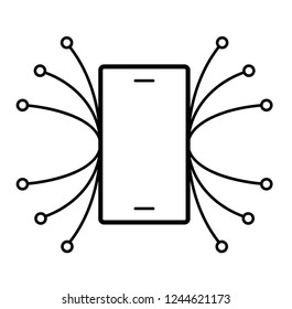 Digitalisation. Vector flat outline icon illustration isolated on white background.
