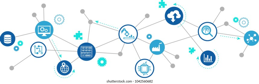 Digitalization concept: enterprise IoT, smart factory, industry 4.0 - vector illustration