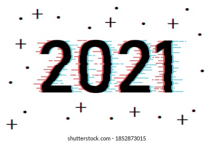 Digitally distorted Happy New Year 2021 winter holiday greeting card design template. End of 2020 and beginning of 2021. The distortion concept of the beginning of the New Year. Vector background