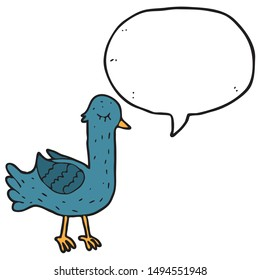 digitally drawn illustration pigeon characters and speech bubbles design. hand drawing style
