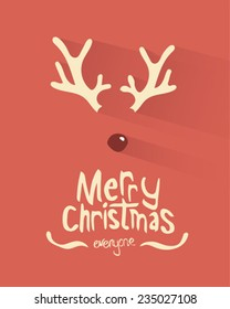 Digitally generated Merry christmas vector with antlers and red nose