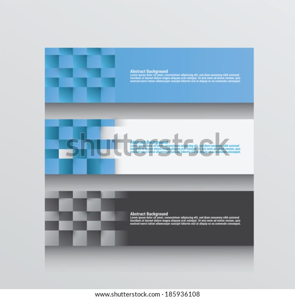 Digitally generated three abstract background vectors in blue grey and white