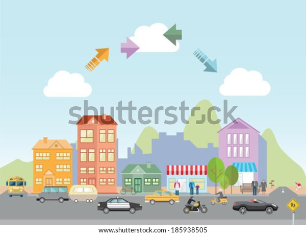 Digitally generated town with road and arrows in sky in simple style