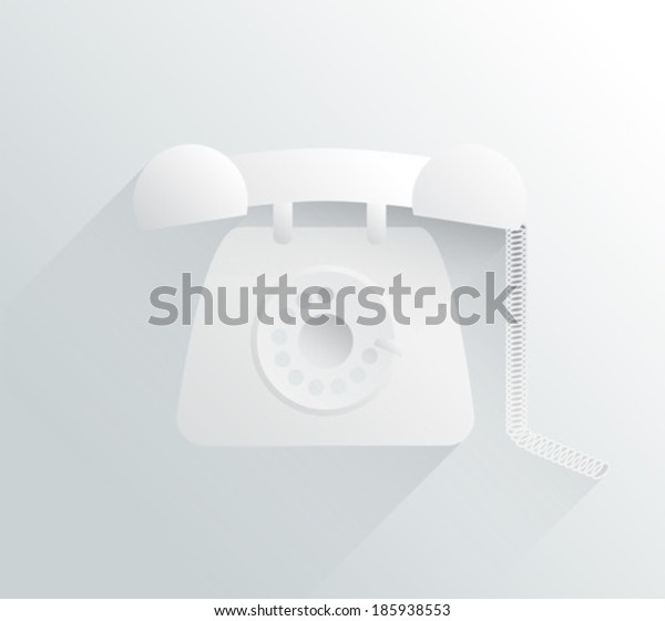 Digitally generated white and grey dial phone in simple design