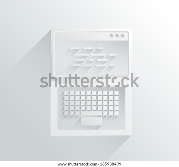Digitally generated white and grey laptop in simple design