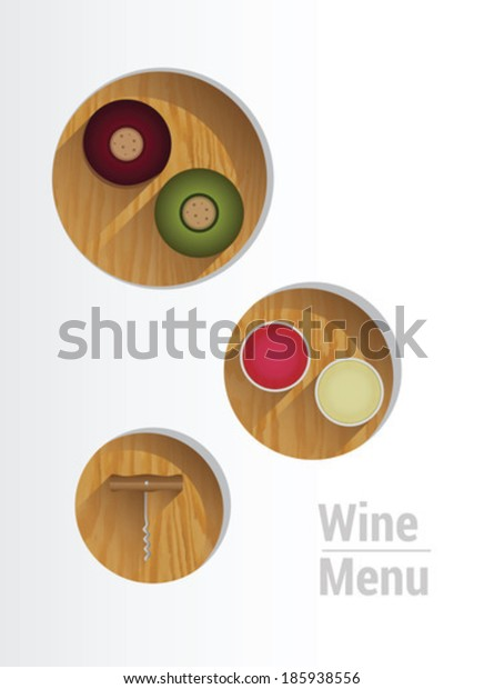 Digitally generated wine menu with cut out circles showing wine crackers and corkscrew