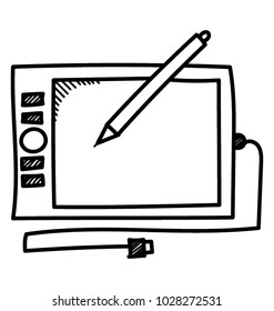 Digitizer doodle icon with wacom pen for digital graphics