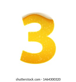 The digits for alphabet in the form of lemonade or beer. Digit 3. Vector illustration on white background