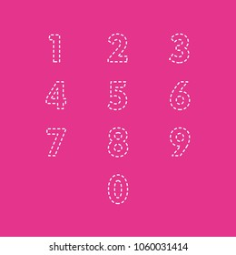 digits with lines embroidered from 0 to 9 editable, children's style on color