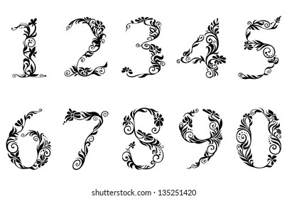 Digits and numbers with floral details in retro style. Jpeg version also available in gallery