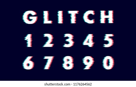 Digits numeral number Vector distorted glitch font. Trendy style lettering typeface letters from 0 to 9