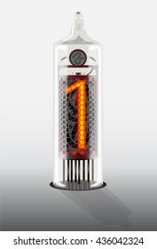Digits on vintage vacuum tube display. Vector illustration