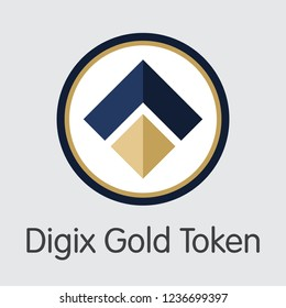 Digix Gold Token DIGIX . - Vector Icon of Crypto Currency.