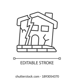 Dilapidated house linear icon. Abandoned buildings. Dangers in old houses. Derelict buildings. Thin line customizable illustration. Contour symbol. Vector isolated outline drawing. Editable stroke
