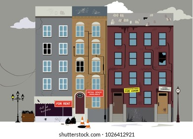 Dilapidated neighborhood with empty commercial and office space for rent,  EPS 8 vector illustration