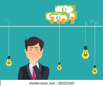 Dilemma of businessman. Thinking man with idea bulbs.Eps 8