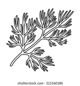 Dill icon in outline style isolated on white background. Herb an spices symbol stock vector illustration.