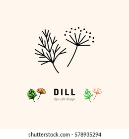 Dill icon Vegetables logo, Dill flower and Fennel, Spice. Thin line art design, Vector outline illustration