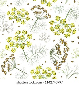 Dill seamless pattern, print on paper or textile. Dill background. Summer garden plants. Cloth shirt pattern.